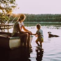 mother young child on boat