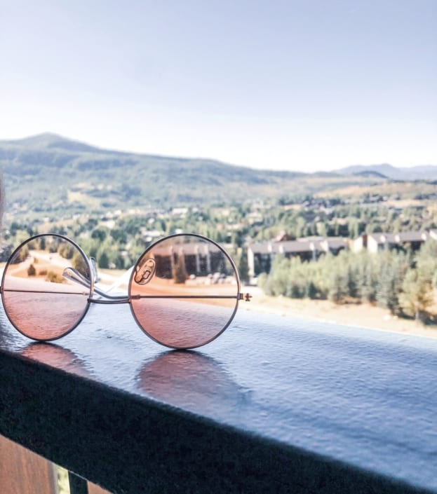 glasses upside down with view