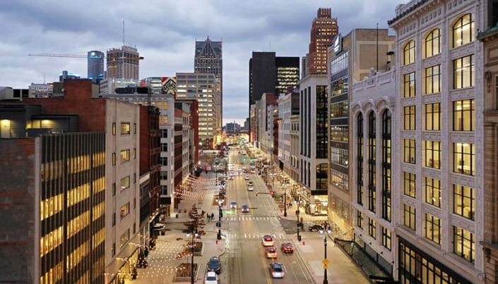 Downtown Detroit in lights
