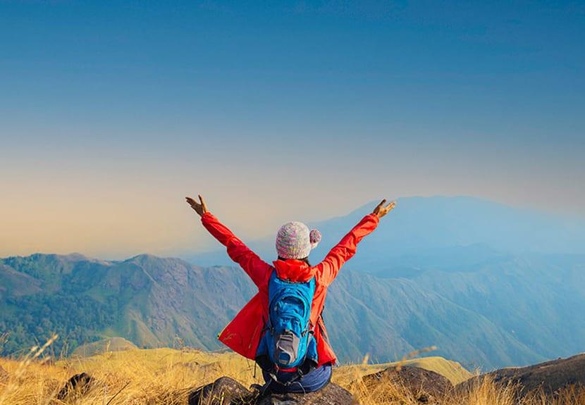 Gap year student on mountain