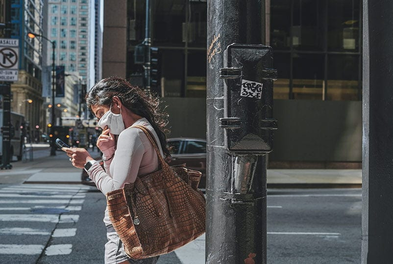 woman walking - on social media