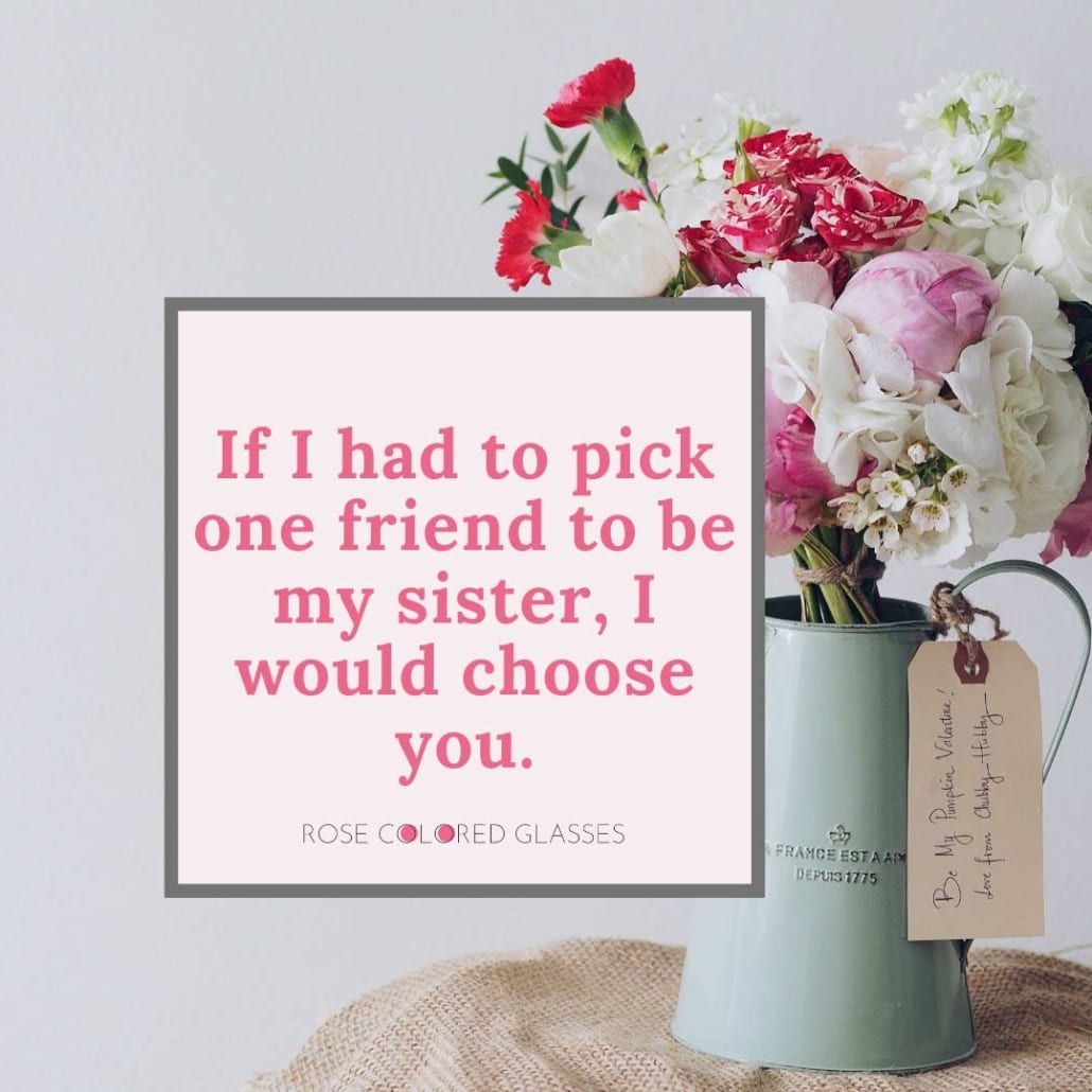 Galentine's Day quote about choosing your friend as a sister.