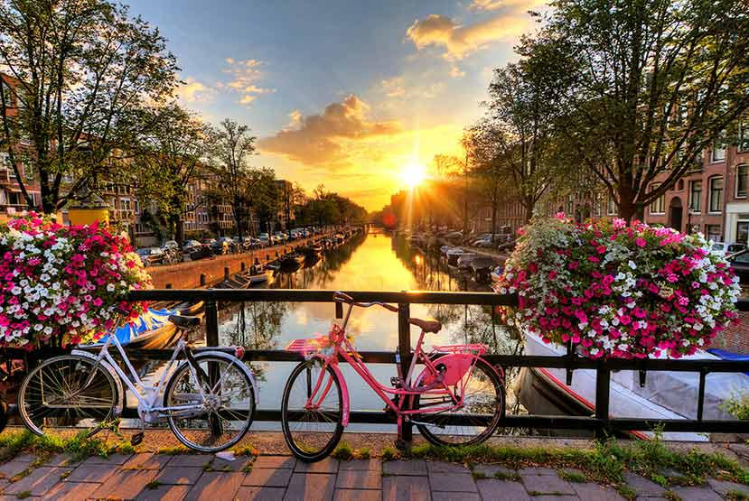 sun rising on a spring day in Amsterdam