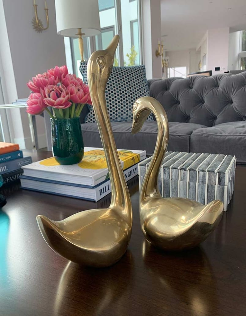 two swans set to style a coffee table