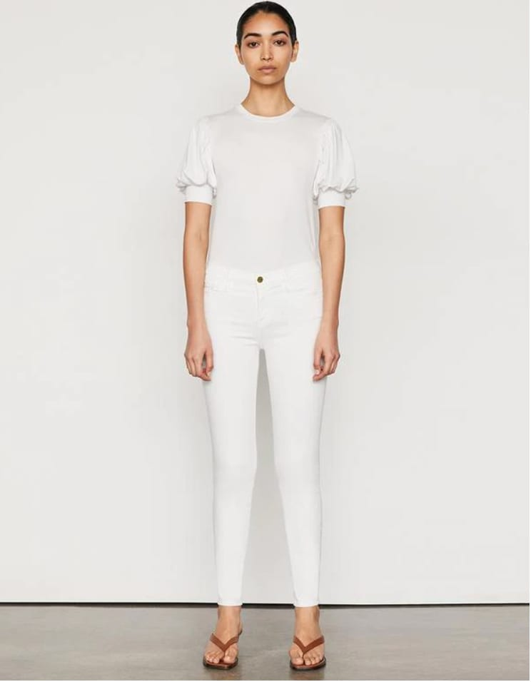 Skinny white denim jeans